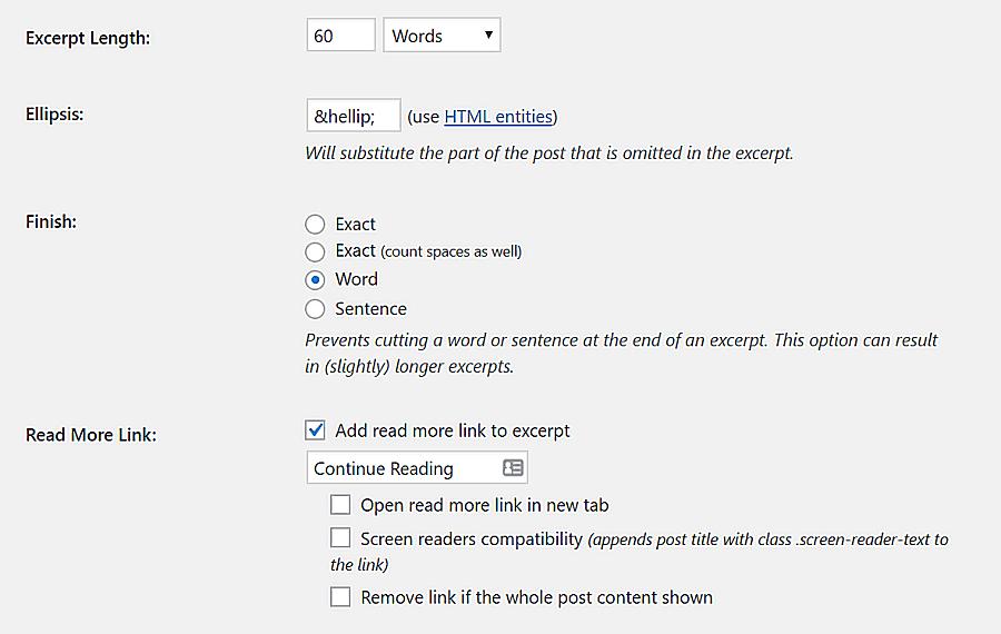 Tùy chỉnh cấu hình plugin Advanced Excerpt