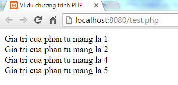 Kết quả vòng lặp continue trong PHP