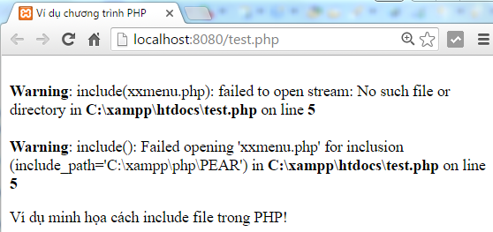 Hàm require() trong PHP