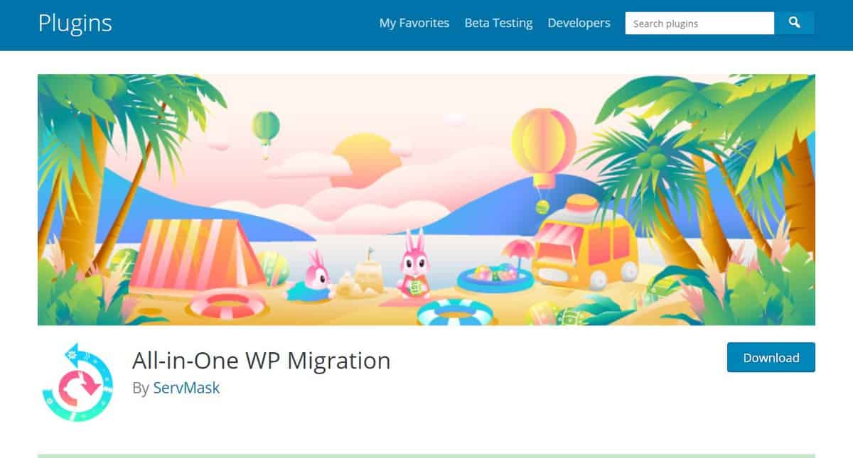 All-in-One WP Migration plugin trang tải về