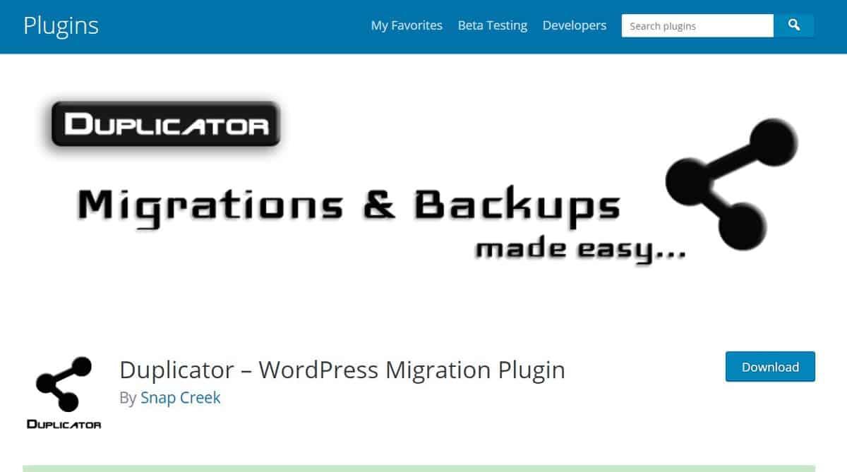 WordPress migration plugin Dpulicator