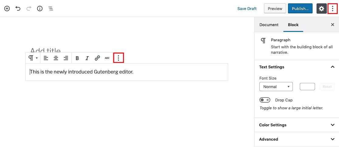 cách chuyển sang chỉnh HTML code trong Gutenberg editor