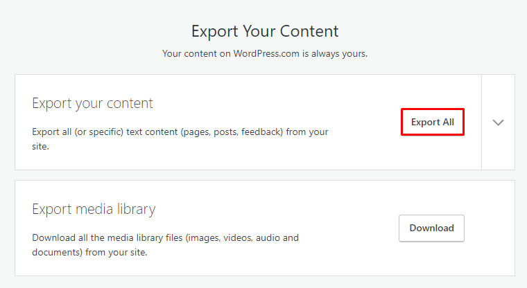 Xuất nội dung WordPress.com