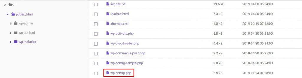 file cấu hình WordPress debug
