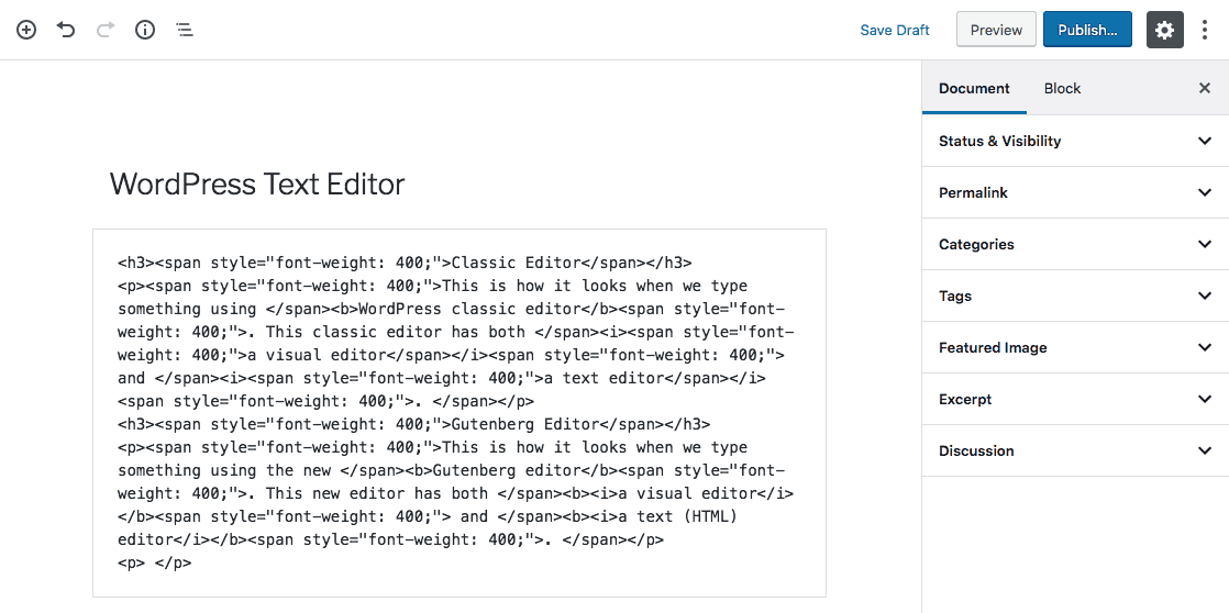 html tag trong wordpress text editor