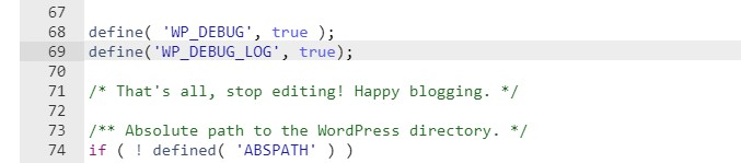 kích hoạt wp_debug log
