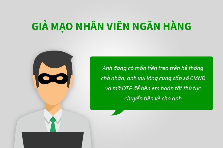 cảnh báo giả mạo nhân viên ngân hàng lừa đảo