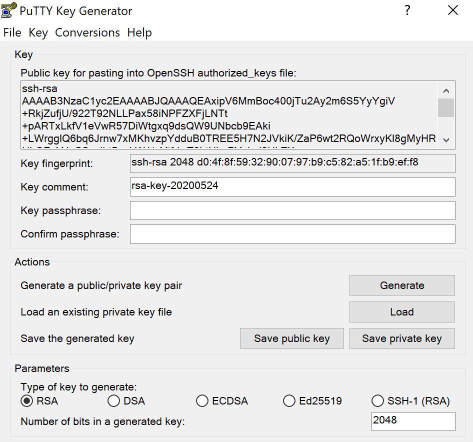 PuttyGen public và private key