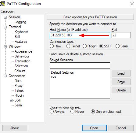 Putty SSH client