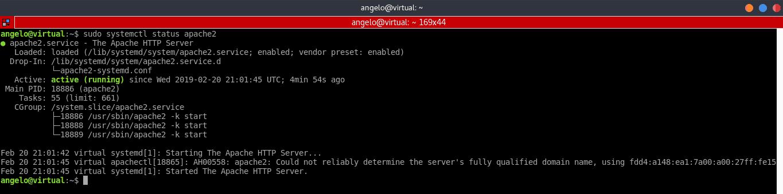 output kết quả kiểm tra trạng thái Apache server trên Ubuntu