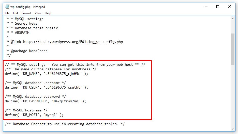 chỉnh sửa file cấu hình database wp-config.php