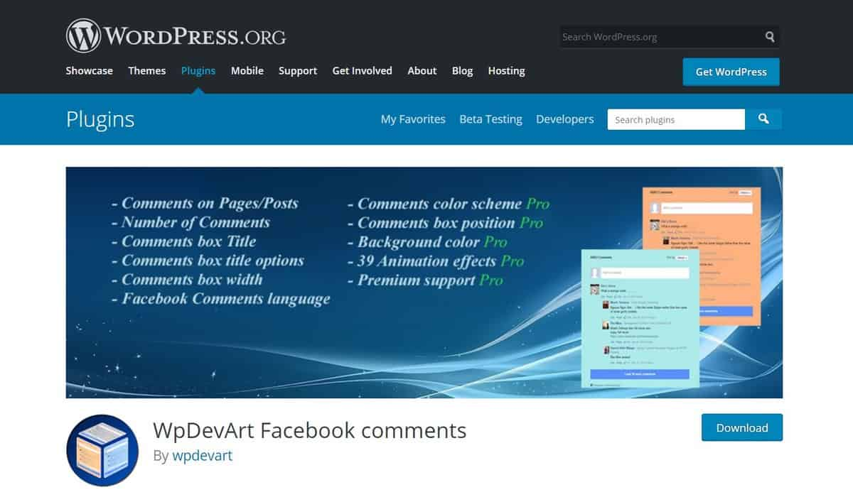 plugin comment WordPress wpdevart facebook comment