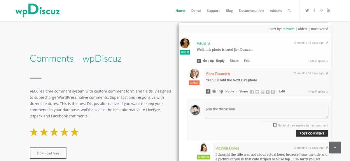 wpdiscuz wordpress plugin comment