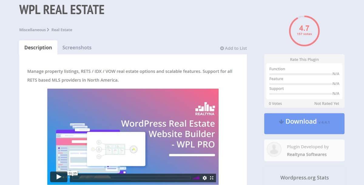 trang tải WPL Real Estate WordPress