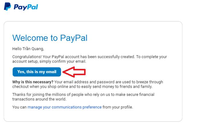 Xác thực đăng kí tài khoản PayPal
