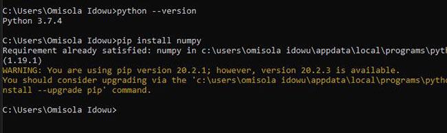 Xác nhận rằng Python được thêm vào Windows PATH